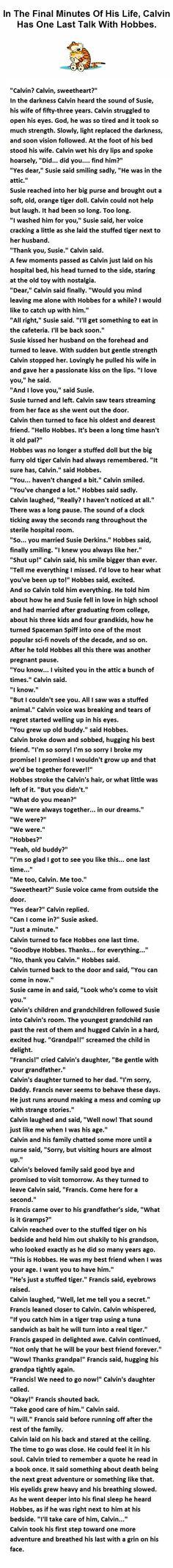 "Calvin says ""Bye"" to Hobbes"