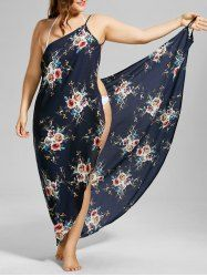 Plus Size Tiny Floral Cover-up Wrap Dress - PURPLISH BLUE
