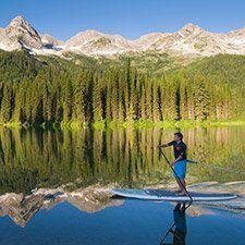 Paddleboarding on Island Lake (Dave Heath photo), BC Canada