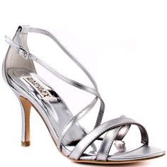 5a0bc7f35b9 Walda features a silver pewter metallic upper with crossing straps and  adjustable side strap. This style brings you a small 3 inch stiletto heel  ...