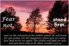 Fear not, stand firm, and see the deliverance of the LORD, which He will work for you today. For the Egyptians whom you see today, you shall never see again. The LORD will fight for you, and you have only to be silent. Exodus 14:13-14