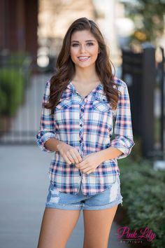 Any Where I Go Plaid Blouse Curvy CLEARANCE - The Pink Lily