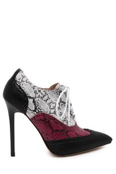Stylish Snake Print and Pointed Toe Design Women's Ankle Boots