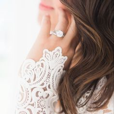 What goes well with lace sleeves? This diamond ring.  #SaturdaySparkle (Link in Profile Photo by @hilary.grace.cinque) #IBTwed #everydayIBT #engagementring #diamondring #wedding inspiration #weddingring by inspiredbythis