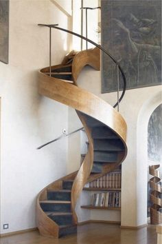 Spiral Stairs Design Banisters Ideas For 2019 Spiral Staircase Dimensions, Spiral Staircase Kits, Spiral Stairs Design, New Staircase, Staircase Design, Spiral Staircases, Stair Design, Modern Staircase, Banisters