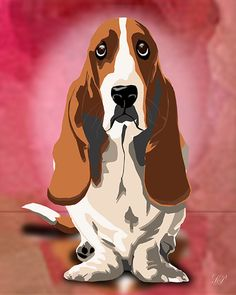 Basset Hound Art Rendering in 8X10 or 11X14 Background & border colors can be altered to match your decor. (Customization OTHER than background & border change is EXTRA and is a Custom order). Custom Orders are (one Pet or Person) any additional pet or Person(s) will be $10.00 extra. During the Customization process your unique art work will be carefully created from your favorite photos to match your pet's special coloring, character & individual personality. While capturing you...