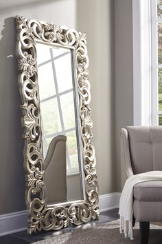 Exquisitely crafted for any glamour queen in your home, The Lucia Floor Mirror is a splendid accent. Antique silver finish brings life to the ornate scroll design Dimensions X X Molduras Vintage, Beautiful Mirrors, Big Mirrors, Floor Mirrors, Wall Mirrors, Furniture Direct, Entryway Furniture, Furniture Outlet, Cheap Furniture