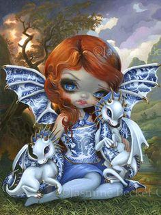 Jasmine Becket-Griffith Art 12x16 CANVAS PRINT COA Alice in a Van Gogh Nocturne