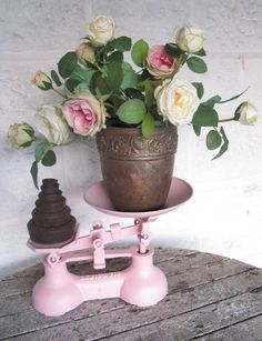 Rose Bouquet and vintage scales at Shingle Cottage .....❤