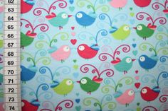 Fabric Birds - T-shirt jersey fabric turquoise blue birds 0.50m - a designer piece of renee d at about