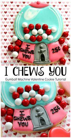 I Chews You Valentine Cookie Decorating Tutorial - Gumball Machine Cookies