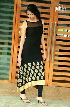 New Latest Designer Black Kurti Salwar Designs, Blouse Designs, Latest Kurti Designs, Pakistani Dresses, Indian Dresses, Indian Outfits, Indian Attire, Indian Ethnic Wear, Ethnic Fashion