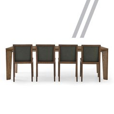 //The design includes smooth, wide angled legs that allow for optimal chair placement and appear to disappear, depending on your view. Timber Dining Table, Dining Chairs, Optical Illusions, Tables, Smooth, Legs, Wood, Furniture, Design