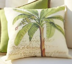 palm pillow from Pottery Barn Palm Leaf Pillow, Pottery Barn, Palm Pillow, Modern Outdoor Furniture, Pillows, Seaside Style, Throw Pillows, Indoor Outdoor Pillows, Outdoor Pillows