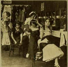 Florence Lawrence, The Biograph Girl,  in His Chorus Girl Wife, a very early movie from 1911, directed by Florence's husband, Harry Solter.