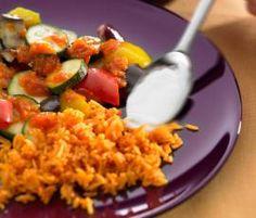 Recept Míchaná zelenina s rýží a jogurtovou zálivkou od Vorwerk vývoj receptů - Recept z kategorie Hlavní jídla - vegetariánská Risotto, Ethnic Recipes, Food, Essen, Meals, Yemek, Eten