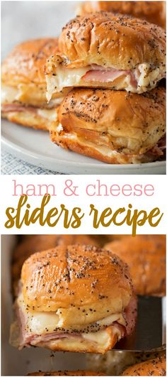 Everyone loves these Hot Ham and Cheese Sliders because they're easy, cheesy and delicious! They don't take long to make and have such a delicious glaze on top that make them addicting and perfect for any get together. Ham Cheese Sliders, Ham And Swiss Sliders, Sliders Burger, Ham And Cheese Sliders Hawaiian, Mini Sliders, Hamburgers, Slider Sandwiches, Steak Sandwiches, Appetizer Sandwiches