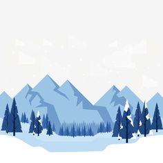Vector Cartoon hand-painted winter snow illustration PNG and Vector Mountain Illustration, Winter Illustration, Christmas Illustration, Landscape Illustration, Flat Illustration, Snow Vector, Vector Art, Vector Background, Background Patterns