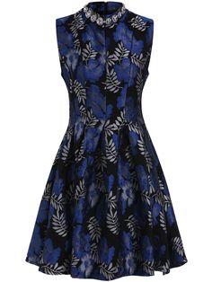 Blue Stand Collar Rhinestone Jacquard Flare Dress -SheIn