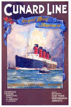 Cunard Line : Liverpool - New York - Boston via Queenstown