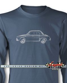 Renault Dauphine / Ondine / Kilowatt - Lights of Art - Long Sleeves T-Shirt  A game of subtle lights and shadows reveal the magnificent curves of the body of this Legendary Sports Car. Detailed and harmonious, the illustration has grabbed the essence of one of the most influential vehicle of the 20th century. A true Legend that lives forever: the Renault Dauphine / Ondine / Kilowatt Long Sleeves T-shirt!