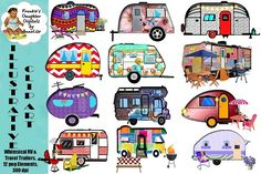 Whimsical RV Travel Trailer Clip Art