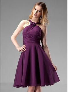 Wedding Party Dresses - $114.99 - A-Line/Princess V-neck Knee-Length Chiffon Bridesmaid Dress With Ruffle Flower(s)  http://www.dressfirst.com/A-Line-Princess-V-Neck-Knee-Length-Chiffon-Bridesmaid-Dress-With-Ruffle-Flower-S-007004170-g4170