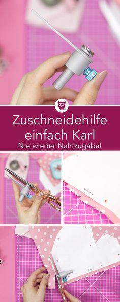 [Werung] Zuschneidehilfe einfach Karl: Nie wieder Nahtzugabe anzeichnen. Das Näh-Gadget wird mit einem starken Magneten an der Schere angebracht. Das Schnittteil kann dann direkt ohne angezeichnete Nahtzugabe zugeschnitten werden. Anleitung
