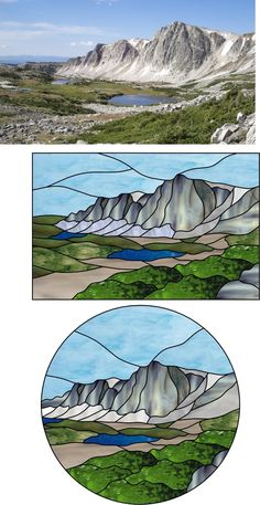 This is a great example of creating a design from a photograph. A good assignment for students on how to break up the space. Custom Made Medicine Bow Peak Mountain Stained Glass Panel Stained Glass Mosaic, Glass Painting, Stained Glass Designs, Glass Art, Scenery