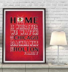 "Chicago Blackhawks hockey Inspired Personalized & Customized ART PRINT- ""Home Is"" Parody Retro Unframed Print"