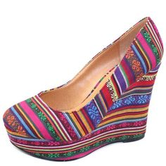 Top Moda River-80 Black Multi Tribal Color Wedges These are super fun statement shoes, especially for summer of spring- only worn twice and in great shape!  -Heel Height: 5.5 inches Heel, 1.25 inches platform (Approx)  -Canvas fabric material, tribal color, pleated wedge pumps. Round toe front closure, lightly padded insole for comfort. Rubber outsole for no-slip grip. Top Moda Shoes Wedges