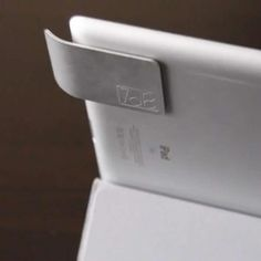 Sabine is an amplifier that redirects sound to the front of the iPad.