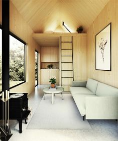 Catskills Tiny House Your very own modern tiny house weekend getaway. The Walden 144 features soaring ceilings, lofted living space, a wood stove, alcove kitchen, and shower room. Tiny House Loft, Best Tiny House, Modern Tiny House, Tiny House Design, Tiny House Plans, Tiny Loft, Modern Houses, Japanese Style Tiny House, Tiny House Shower