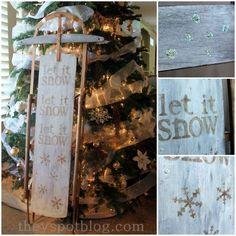 Let It Snow - DIY glittered Christmas sled