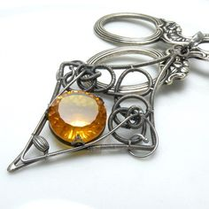 Crevan    silver wire wrapped pendant with by MadeBySunflower, $118.00