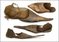 Antique shoes from the middle ages.