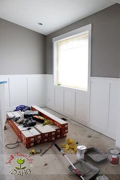 Hallway ideas – Furniture desing trend for 2020 Transitional mudroom features a built-in bench and window seat against walls acc. Dining Room Wainscoting, Dining Room Walls, Wood Wainscoting, Bathroom Paneling, Remodel Bathroom, Idaho, Wood Bedroom, Master Bedroom, Gray Bedroom