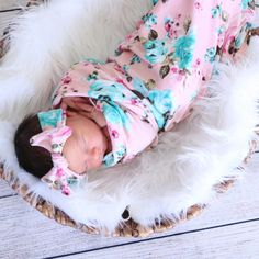 Sweet Pea Pink Swaddle & Headband Set $38 (Don't love any of their fabrics but love the idea!!)