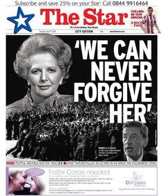 The Sheffield Star after Margaret Thatcher's death