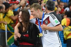 Toni Kroos of Germany celebrates with girlfriend Jessica Farber after defeating Argentina 1-0 in extra time during the 2014 FIFA World Cup Brazil Final match between Germany and Argentina at Maracana on July 13, 2014 in Rio de Janeiro, Brazil.