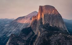 """""""Half Dome August Sunset"""" -- #wallpaper by """"bakn"""" from http://interfacelift.com -- Half Dome bathing in the last August sunlight. The smoke comes from forest fires in the valley.    Sony A7II - Adobe Lightroom. -- Available as #wallpapers in any resolution at: http://interfacelift.com/wallpaper/details/4143/half_dome_august_sunset.html"""