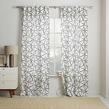 Cotton Canvas Sketched Drawing Curtains (Set of 2) - Slate
