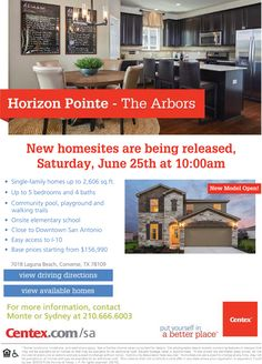 New Homes for Sale in Converse, Texas  New Homesites To Be Released at Horizon Pointe This Saturday!  Beautiful Single-Family Homes  |  Community pool, playground & walking trails  |  Onsite Elementary School  http://www.centex.com/communities/TX/converse/HorizonPointe/209599/index1.aspx#.V214ZOLwuM9