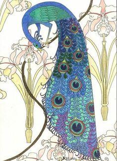 Peacocks in Irises by elegaer on DeviantArt
