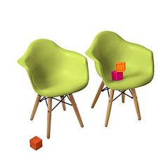 Kids' Desk Chairs - Buschman Set of Two 2 Green  Kids Eames Style Retro Modern Colorful Dining Room Mid Century Shell Chairs Metal Natural Wood Dowel Leg Base Plastic Molded Armchair Children Accent Kid Designer Side -- You can get more details by clicking on the image.