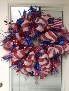Pin by barbara poetscher on patriotic deco mesh wreaths. Patriotic Wreath, Patriotic Crafts, Patriotic Decorations, July Crafts, 4th Of July Wreath, Flag Wreath, Patriotic Party, Birthday Decorations, Wreath Crafts