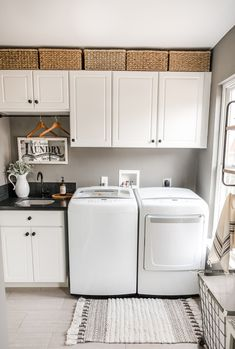 Spring Home Tour by Home Stories A to Z springtour springdecor springideas Laundry Room Cabinets, Laundry Room Organization, Small Laundry Rooms, Laundry Room Design, Laundry Area, Laundry Room Remodel, Laundry Closet, Laundry Drying, Bathroom Laundry