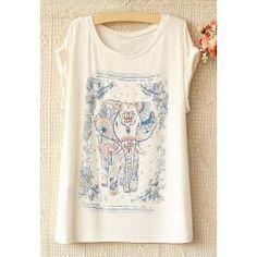 T-shirt Style de Nationale Manche Courte Motif d'Éléphant pour Femmes