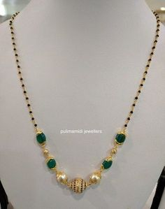 Black beads short necklace sets for churidars, western wear and sarees. 22 carat gold necklaces with south sea pearls emerald beads co. Pearl Necklace Designs, Gold Earrings Designs, Gold Designs, Gold Chain Design, Gold Jewellery Design, Beads Jewellery Designs, Designer Jewellery, Gold Mangalsutra Designs, Diamond Mangalsutra