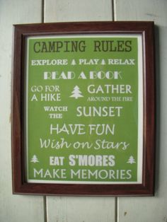 Camping Rules Sign - tomorrows adventures